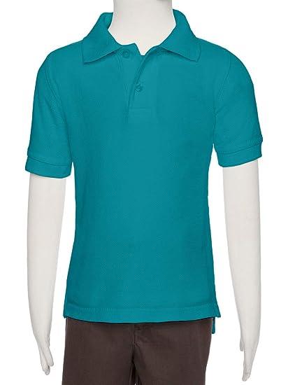 AKA Boys Wrinkle Free Polo Shirt Short Sleeve - Pique Chambray Collar  Comfortable Quality Aqua 2 693abaa86384
