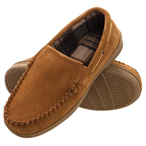 Heat Edge Mens Memory Foam Suede Slip on Indoor Outdoor Venetian Moccasin Slipper Shoe (11, Tan)