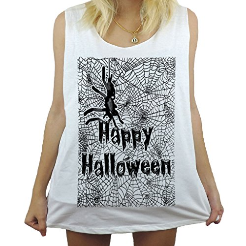 Modman Men's Happy Halloween Spider Day of Death Tank Top X-Large White
