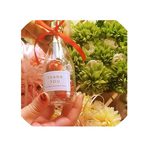 (50Pcs Champagne Bottle Wedding Baby Shower Birthday Guests Favors Event Party Candy Sweet Gift Favor Boxes,Pink)