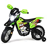 Costzon Kids Ride On Motorcycle, Motorcycle Toy for Children, Electric Motorcycle, Ride On Toy, Electric Ride on Motorcycle, with Headlights & Music, Pedal, Training Wheels, Battery Powered 6V (Green)