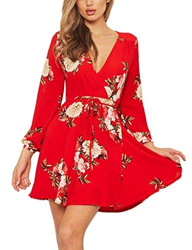 Vivimeng Womens Long Sleeves Adjustable Floral Printed Evening Dress Deep V-Neck Fitted Flare