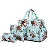 Miss Lulu 4 Piece Flower Dot Baby Nappy Changing Bag Set Grey L1501F GY