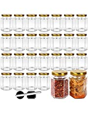 Hexagon Glass Jars with Metal Lids.Canning Jars Containers for Spice Jam,Jelly, Wedding Favors, Honey And More.Include 1 Chalk Pen and 40 Labels