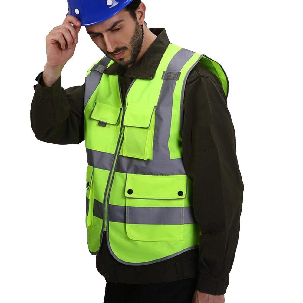 Gilet di Sicurezza Multitasche Riflettente ad Alta visibilit/à Gilet in Rete Altamente Traspirante per Uomo Dadahuam Gilet di Sicurezza