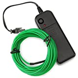Zitrades EL Wire Portable Neon Glowing 15ft El Wire Green Driver 4 Modes Battery Operated For Wedding Party Valentine's Day