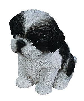 Hi-Line Sitting Shih Tzu Puppy Figurine Black White