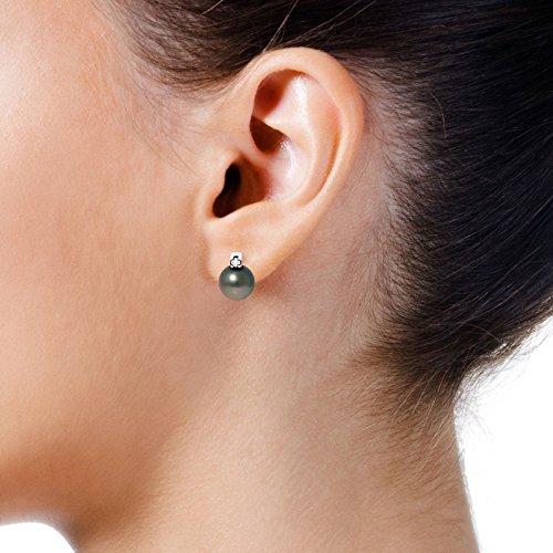 Pearls & Colors - Boucles d'oreilles - Or blanc 9 cts - Diamant 0.04 cts - Perle de culture de Tahiti - AM-9BOR 370 R8B