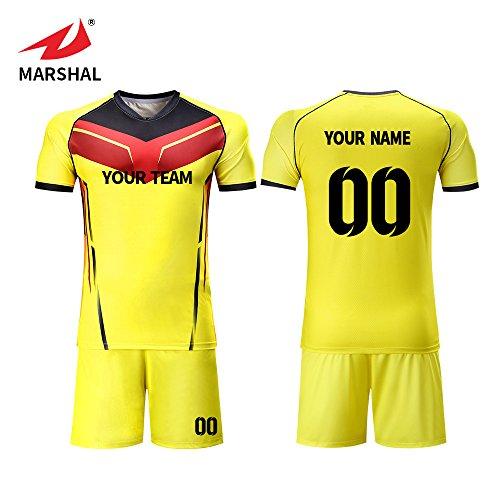 Custom Football Team Jerseys - Marshal Jersey Custom Soccer Jerseys Set Yellow Design Soccer Uniforms For Men Custom Your Name, Your Number (M)