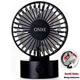 quiet mini desk fan - ONXE Quiet USB Desk Fan, Small Mini Table Desk Desktop Personal Fan Cooling for Room Office (2 Speed Modes Dual Blades Simulate Natural Wind, High Compatibility) - Black