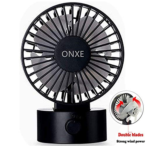 (ONXE Quiet USB Desk Fan, Small Mini Table Desk Desktop Personal Fan Cooling for Room Office (2 Speed Modes Dual Blades Simulate Natural Wind, High Compatibility) - Black)