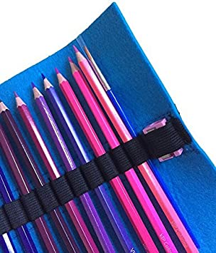 48-Count Watercolor Colored Pencils with Felt Roll Out Case Sharpener and Paintbrush by VIP Coloring Books