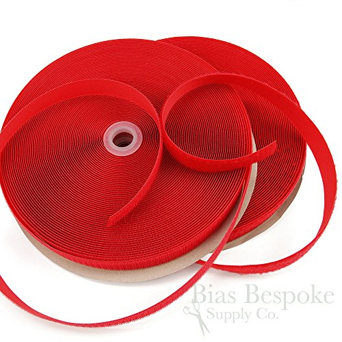 27 Yard Rolls of 5/8'' Wide Sew-on Hook and Loop Fastening Tape, Bright Red by Bias Bespoke