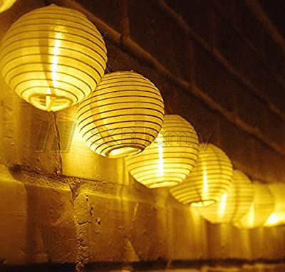 SKB family Solar Powered String Lights with 20 Globe Lanterns Outdoor, Patio, Garden, Landscape and Backyard Mood Lighting Christmas, Party Warm LED Bulbs Water-Proof, On/Off Switch, White