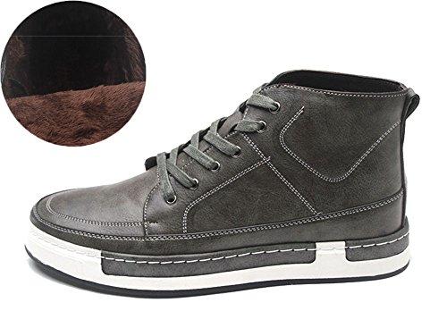 Geruite & Effen Hoge Sneakers Heren Skate Schoenen Leren Hoge Tops B-grey-fleece