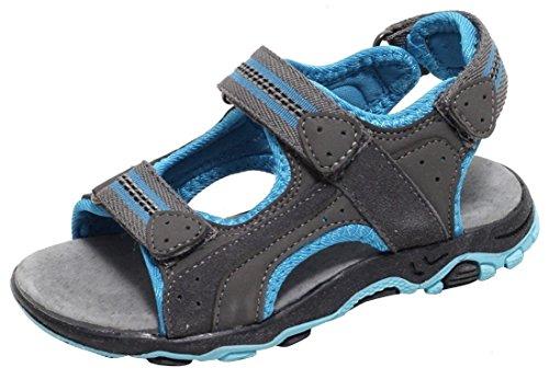 Jungen Mädchen Kinder Sandale Kinderschuhe Pantolette Freizeitschuhe Lederschuhe Ledersandalen Trekkingsandalen Sommersandale blau grau ECHTES LEDER