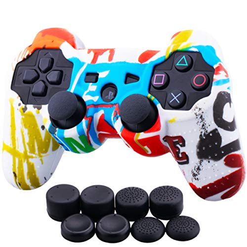 (9CDeer 1 Piece of Silicone Water Transfer Protective Sleeve Case Cover Skin + 8 Thumb Grips Analog Caps for PS3 Controller, Spray-Painting)