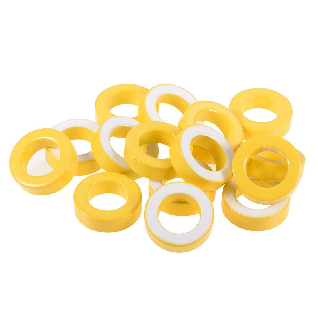 uxcell 15pcs 22 x 36.5 x 11mm Ferrite Ring Iron Powder Toroid Cores Yellow White