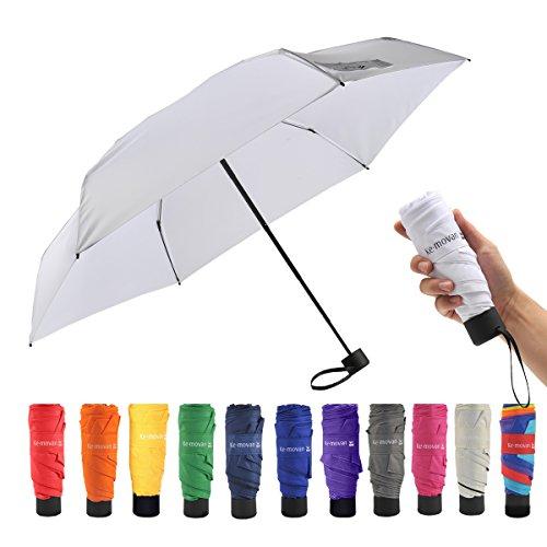 Ke.movan Travel Compact Umbrella Windproof Mini Sun & Rain Umbrella Ultra Light Parasol - Fits Men & Women, Gift Choice (White)