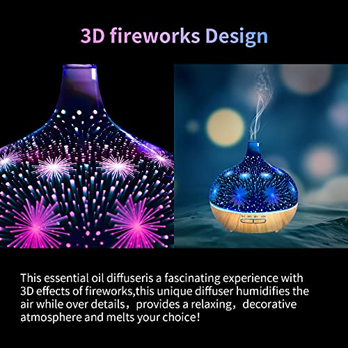 Glass diffuser for essential oils 3D Fireworks Effect Aromatherapy air diffusers with Remote Control Timer Setting 7 Color Firework Lights and Waterless Auto-Off, 500ml Aroma Decoration Gifts for Home