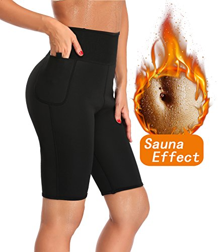 LAZAWG Women Slimming Sweat Anti Cellulite Weight Loss Shorts Hot Thermo Neoprene Body Shaper Pants Shapewear , Black, XXX-Large(waist 35.0-36.5IN)(tag size ()