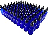 Dropper Stop 2oz Cobalt Blue Glass Dropper Bottles (60mL) with Tapered Glass Droppers - Pack of 80