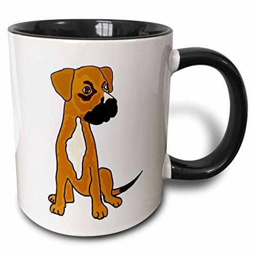 White Boxer Pictures - 3dRose mug_200116_4 Funny Boxer Mix Rescue Puppy Dog Ceramic, 11 oz, Black/White