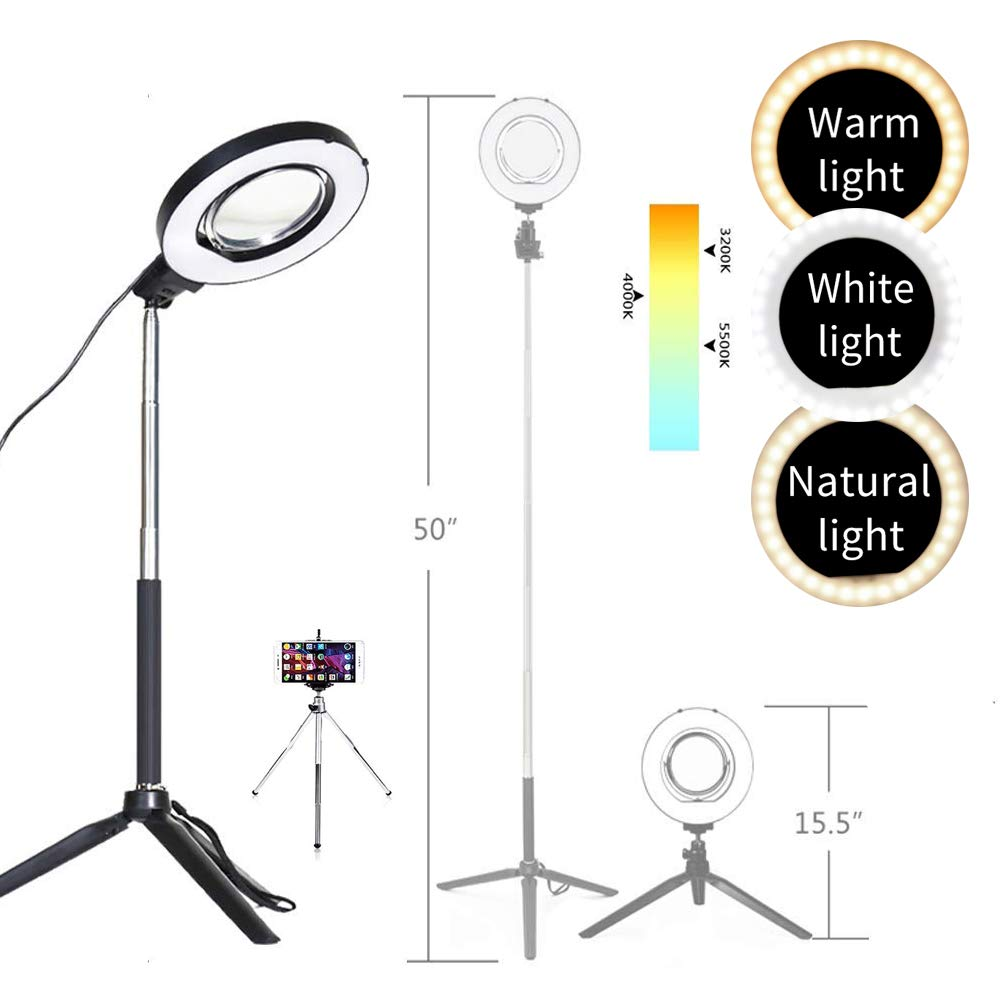 "Dimmable Ring Light with Adjustable Height Light Stand,Selfie Stick and USB Plug,6"" 3200K~5500K Beauty Table Top Lamp with Makeup Mirror,Mini Tripod and Phone Clamp, Perfect for Vlogs,YouTube Channel"