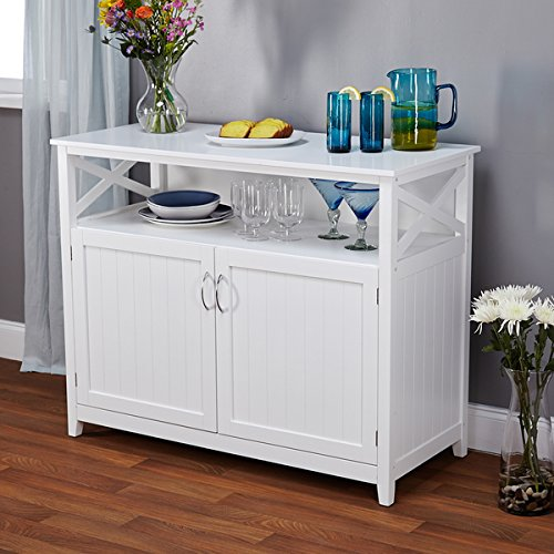 Contemporary White Finish Beadboard Buffet Buffet Finish