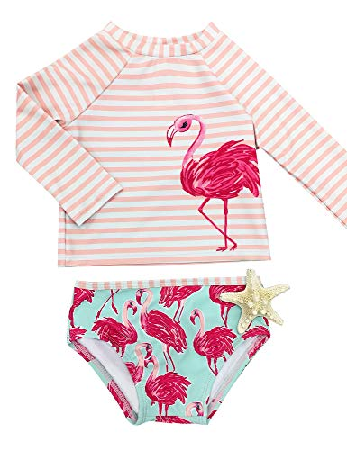 GRAPENT Baby/Toddler Girls Pink and Green Two Pieces Long Sleeves Flamingo Print Rash Guard Bathing Suit Size 9-12M