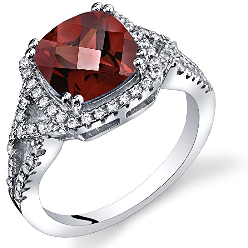 Peora Garnet Cushion Cut Checkerboard Ring Sterling Silver 2.50 Carats Size 6 ()