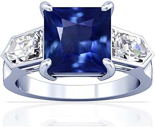 Platinum Princess Cut Blue Sapphire Three Stone Ring