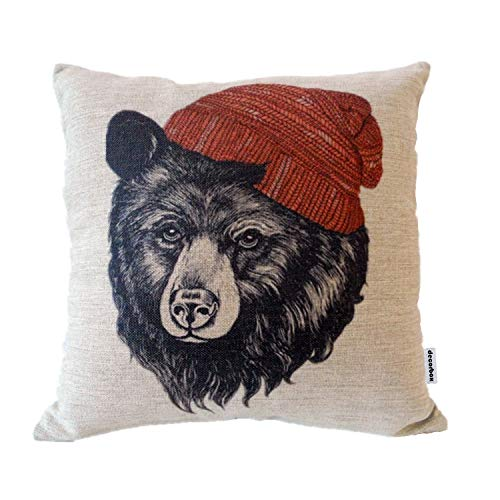 Decorbox Cotton Linen Square Throw Pillow Case Decorative Cushion Cover Pillowcase for Sofa Animal Black Bear Wear Hat 18
