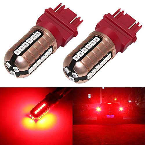 Phinlion 3157 LED Brake Light Bulbs Super Bright 3000 Lumens 3030 27-SMD 3056 3057 3457K 4057 4157 LED Turn Signal Blinker Tail Stop Lights, Pure Red