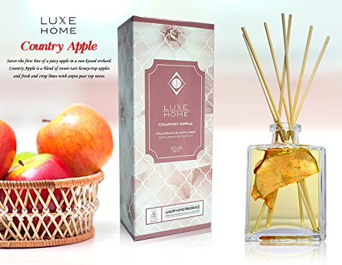 Luxe Home Country Apple Fragrance Oil Reed Diffuser | Sweet-Tart Honeycrisp Apples, Crisp Limes & Anjou Pear Scented Sticks | Makes an Impressive Business Gift Idea | Made in The USA