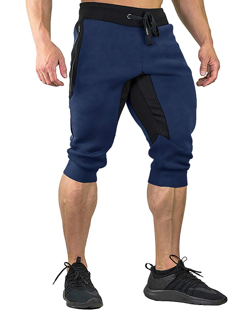 FASKUNOIE Joggers Pants Three Quarter Capri Pants Cotton Breathable 3/4 Long Shorts Jogging Running