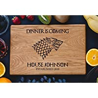 Personalized Cutting Board Dinner is coming Games of thrones House Stark Direwolf Engraved Custom Family chopping Wedding Gift Anniversary Housewarming Birthday Christmas game02