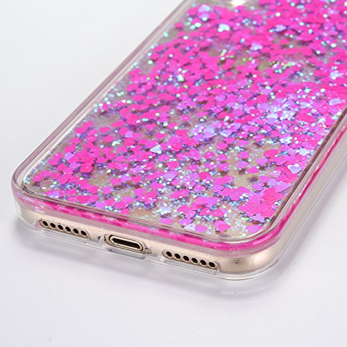 iPhone X Case [With Free Tempered Glass Screen Protector],Mo-Beauty® Flowing Liquid Floating Flowing Bling Shiny Sparkle Glitter Crystal Clear Plastic Hard Case Protective Shell Case Cover For Apple i Rose pink