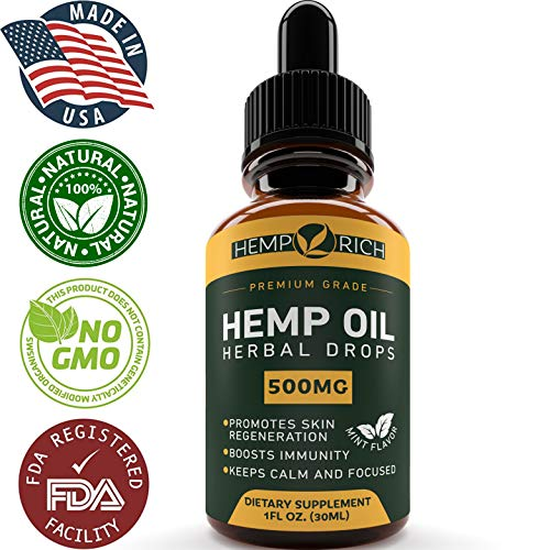 Full Spectrum Hemp Oil for Pain, Anxiety & Stress Relief - 500mg of Pure Hemp Extract - Grown & Made in USA - Anti-Inflammatory & Joint Support - Helps with Sleep, Mood, Skin & Hair - 1 Fl oz. (30ml)