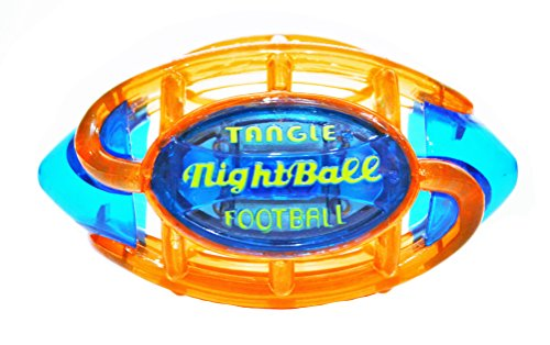 51PFsccovgL - Tangle NightBall Glow in the Dark Light Up LED Football, Orange with Blue