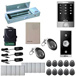 Visionis Fpc-5147 One Door Access Control Out Swinging Door 1200lbs Maglock With Vis-3000 Outdoor Weather Proof Keypad Reader Standalone No Software 2000 Users Wireless Receiver Kit