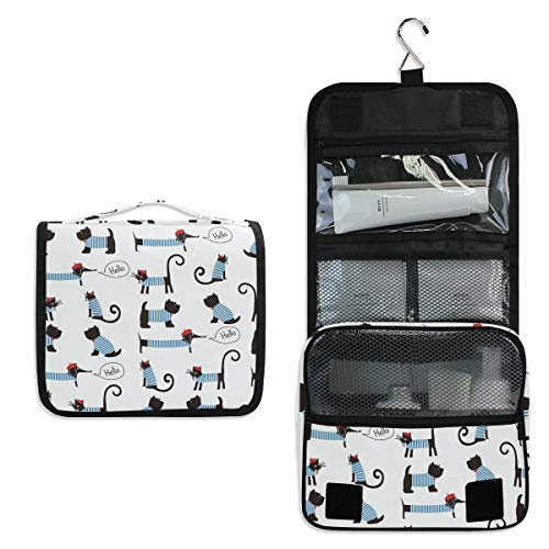 JOYPRINT Hanging Toiletry Bag French Dog Cute Animals Pattern, Makeup Bag Cosmetic Bag Bathroom Travel Organizer Large for Women Girls