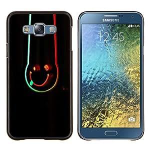 LECELL--Funda protectora / Cubierta / Piel For Samsung Galaxy E7 E700 -- Abstract Neon Smiley --