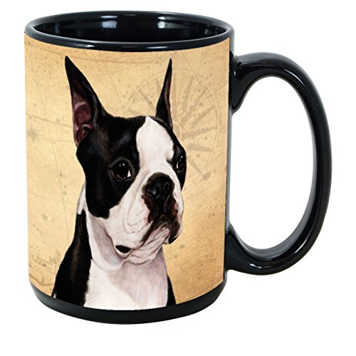 Terrier Mug Cup Coffee - Imprints Plus Dog Breeds (A-D) Boston Terrier 15-oz Coffee Mug Bundle with Non-Negotiable K-Nine Cash (boston terrier 030)