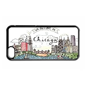 Jackalondon Art Prints IPhone 5C Case We Belong in Chicago, Unique Design Art Prints, {Black}