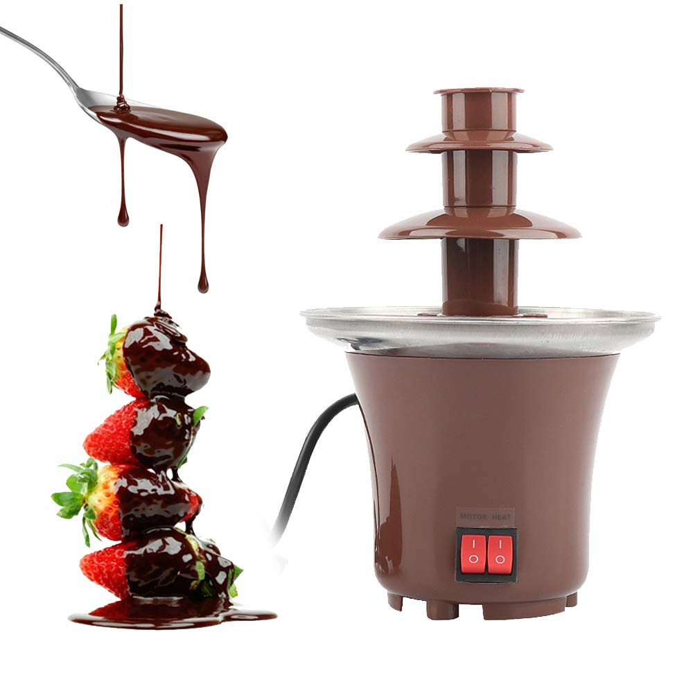 110V Mini Chocolate Fondue, 3 Tiers Electric Stainless Steel Fondue Pot Chocolate Melting Machine Dipping Dessert Fruits Butter Cheese for Kids Party Wedding Hotel,Whisper Quiet Motor