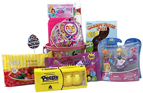 Spring Princess Disney (Disney Princess Easter Basket | Great for Little Girls | Pre Filled with Stuffers, Chocolate, Candy, Treats and Toys | Perfect for Kids of Most Ages)