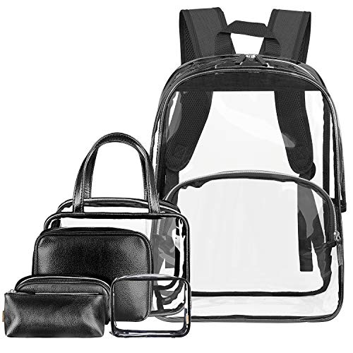 Price comparison product image NiceEbag 6 in 1 Clear Backpack w / Cosmetic Bags Heavy Duty School Bookbag w / Pencil Case See Through Travel Daypack Stadium Approved Transparent Knapsack for Teen Girl Boy Kid Adult Women Men, Black