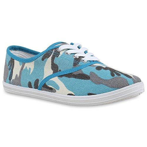 Stiefelparadies Damen Herren Unisex Sneaker Low Basic Flandell Camouflage Blau