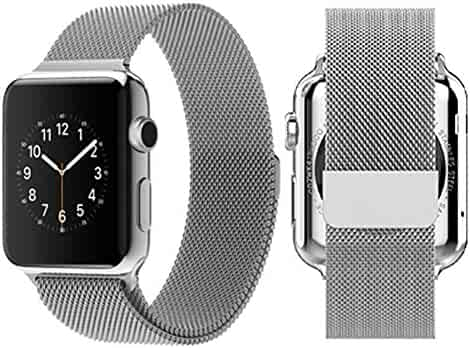 Apple Watch Band, AWStech 38mm Milanese Loop Stainless Steel Bracelet Strap Replacement iWatch Band with Magnet Lock No Buckle Needed for Apple Watch All Models - Silver